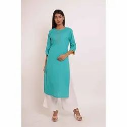 Plain Straight Cotton Kurti with Palazzo