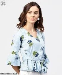 Cotton Blue Striped 3/4th Sleeve Crepe Peplum Style Top with Attached Belt