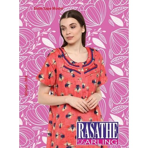 Full Length Cotton Ladies Red Printed Nightgown
