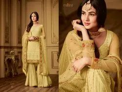Women's Net With Embroidered Occasional wear Straight Cut Semi-Stitched Sharara Style Suit with Sti