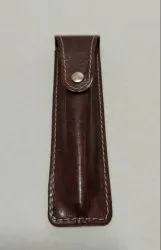 Unisex Brown PU Leather Pen Cover for Office
