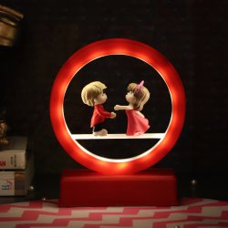 Plastic Red Valentines Day LED Couple Light Showpiece, Packaging Type: Carton Box