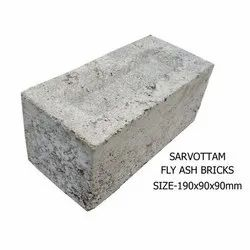 Gray Sarvottam Fly Ash Bricks 190x90x90mm