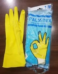 Washable Orange Rubber Hand Gloves, For Industrial Use