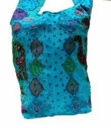 Blue Cotton Fine Elephant Patch Cut Kantha Work Shoulder Bag