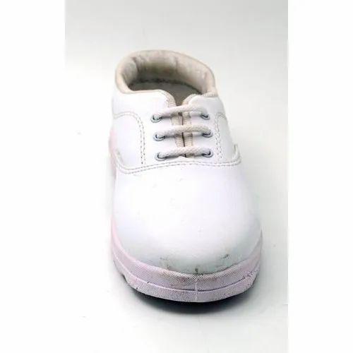 """Swadeshi PU Boys White School Shoes, Size: 4-7"""", Packaging Type: Box"""