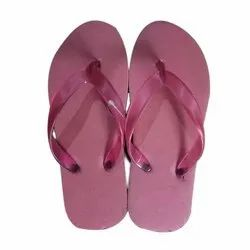 Daily Wear Ladies Pink Plain Flat Rubber House Slipper, Size: 5-8