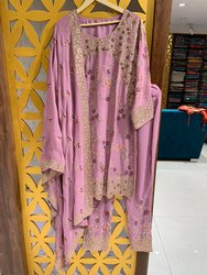 Party Wear Stitched Pant Suit With Heavy Dupatta