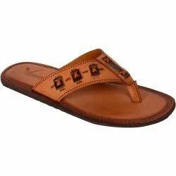 Tan Synthetic Leather Vonzo Men's Formal Slipper/ Flip-Flops/Chappal 4009