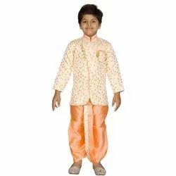 Ivory And Orange Ready Made Dhoti Sherwani