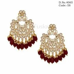 Traditional Wedding Kundan Chandbali Earrings