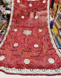 Hand Work Bandhani chunri Saree