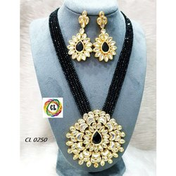 CL Code Indian Traditional Fashion Jewellery Kundan Crystal Necklace Earrings Festive Collection Set