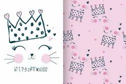 Jersey Stretchable Kitty Printed Fabric