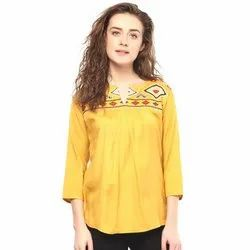 Cotton Women Yellow Embroidered A-Line Top