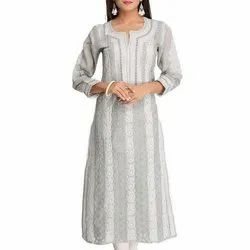Embroidered 3/4th Sleeve Ladies Casual Cotton Kurti, Size: M-5XL, Wash Care: Machine wash