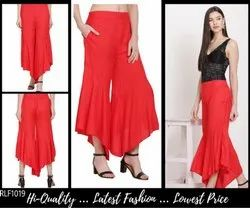 Red Ladies Rayon Palazzo Pants