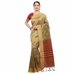 Beige Coloured Tussar Silk Maheshwari Traditional Wear Saree