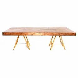Brown Rectangle Antique Wooden Center Table