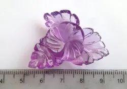 Handcarved Light Amethyst For Brooch Pendant Flower And Leaf Shape Carving