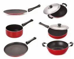 Nirlon Gas Compatible Non-Stick Aluminum Cookware Combo Set, 6-Pieces,