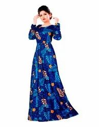 Floral Printed Long Organic Lycra Stretchable Maxi Gowns Dress for Women