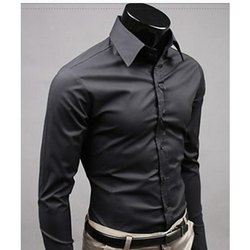 Plain Collar Neck Men Black shirt, Machine wash