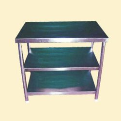 Powder Coated SS Work Table 3 Shelf, For Hotel,Restaurant