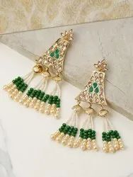 Gold-Toned Sparkling Stone Hanging Beads Geometric Drop Earrings