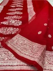 6.3 M (With Blouse Piece) Party Wear Banarasi Pure Georgette Saree, Size: Full Length