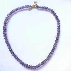 Natural Amethyst Faceted Rondelle Beads Necklace with Silver Clasp