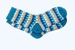 Ladies Printed Blue Woolen Socks