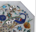 Octagonal Coffee Marble Inlay Table Tops