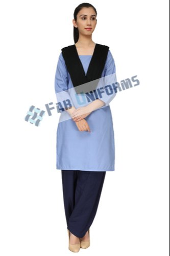 Polyester Cotton Light Blue Ladies Housekeeping Uniform for Hospital
