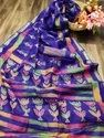 Linen Zari Patta Party Wear Saree