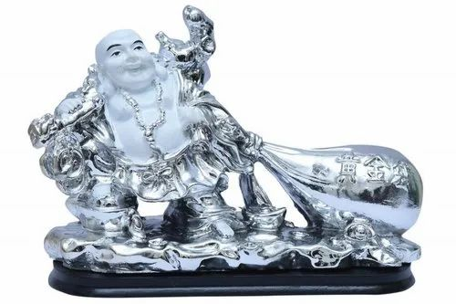 Pandit NM Shrimali Multicolor White Laughing Buddha Sitting With Bag