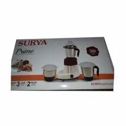 750 W Prime Surya Juicer Mixer Grinder, Warranty: 2 Years, Capacity: 3 jars