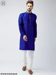 Silk Royal Blue Kurta And Off White Churidar Pyjama Set
