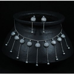 Pure Silver Party Wear Sakhli Har Necklace