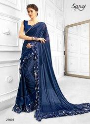 Blue Fancy Party Wear Sarees