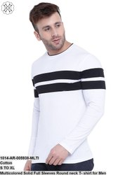 Gritstone Multicolored Solid Full Sleeves Round Neck T- Shirt for Men
