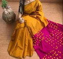 Cotton silk pallu pompom handloom saree