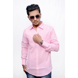 Light Pink Cotton Men's Pink Formal Shirt, Packaging Type: Packet, Machine wash