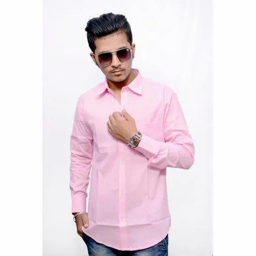 ed7423f1af4934 Light Pink Cotton Men' s Pink Formal Shirt, Packaging Type: Packet, Machine