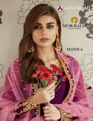 Buy Aashirwad Creation Mor-Bagh Mohra Straight Salwar Kameez Catalog