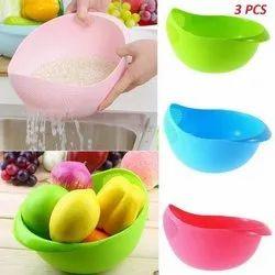 Multicolor Glass Rice Bowl Colander, Set Contains: 1 Pcs, Size: 14 Inch