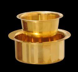 K&T 1 Bowl 1 Glass Brass Coffee Davara Set, Size: 4inches