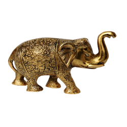Gold Plated Brass Elephant Statue