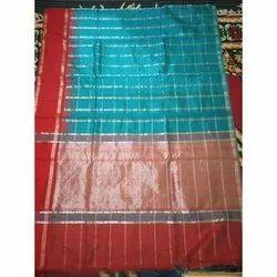 Festive Wear Checkered Silk Saree, Length: 6.3 m