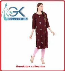 Ladies Rayon Brown Embroidery Kurti